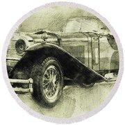 Mercedes-benz Ssk 1 - 1928 - Automotive Art - Car Posters Round Beach Towel