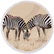 Merging Zebra Stripes Round Beach Towel