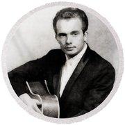 Merle Haggard, Music Legend By John Springfield Round Beach Towel