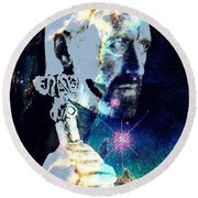 Merlin In The Cosmos Round Beach Towel