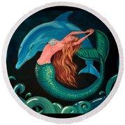 Mermaid And Dolphin  Round Beach Towel
