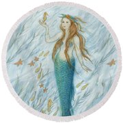 Mermaid And Her Golden Seahorse Round Beach Towel