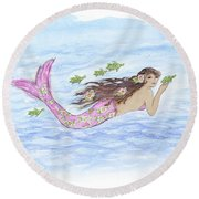 Mermaid And Her Sea Turtle Round Beach Towel