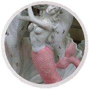 Mermaid In Pink Round Beach Towel