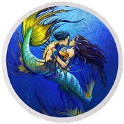 Mermaid Kiss Round Beach Towel