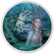 Mermaid Of The Deep Sea 2 Round Beach Towel