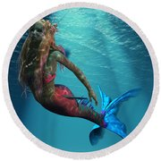 Mermaid Of The Ocean Round Beach Towel