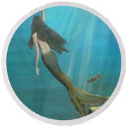 Mermaid Of Weeki Wachee Round Beach Towel