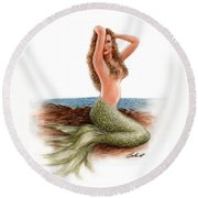 mermaid On The Shore Round Beach Towel