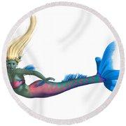 Mermaid On White Round Beach Towel
