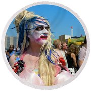 Mermaid Parade Man In Coney Island Round Beach Towel