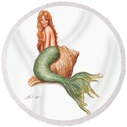 Mermaid Shell Round Beach Towel