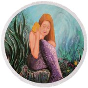 Mermaid Under The Sea Round Beach Towel