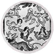 Mermaids, 1475 Round Beach Towel