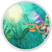 Mermaid's Garden Round Beach Towel