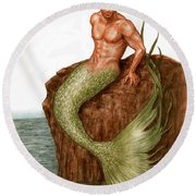 Merman On The Rocks Round Beach Towel