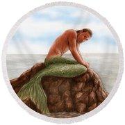 Merman Resting Round Beach Towel