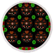 Merry And Happy  Candy With Flair Round Beach Towel