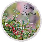Merry Christmas - Berries Round Beach Towel