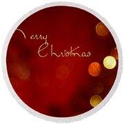 Merry Christmas Card - Bokeh Round Beach Towel