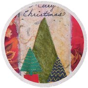 Merry Christmas Card Round Beach Towel