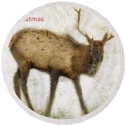 Merry Christmas Elk Greeting Card Round Beach Towel