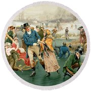Merry Christmas Round Beach Towel by Frank Dadd
