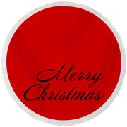 Merry Christmas In Black Round Beach Towel