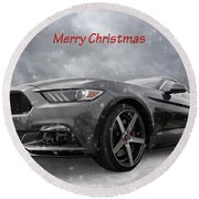 Merry Christmas Mustang S550 Round Beach Towel