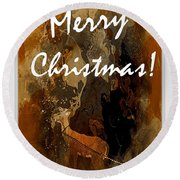 Merry Christmas Reindeer 2 Round Beach Towel