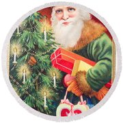 Merry Christmas Santa Delivers Gifts Vintage Card Round Beach Towel