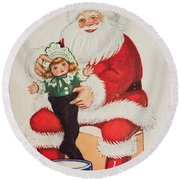 Merry Christmas Santa Pulls Doll From His Sack Vintage Card Round Beach Towel