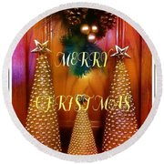 Merry Christmas Trees Colorful Round Beach Towel