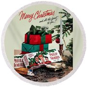 Merry Christmas Vintage Cigarette Advert Round Beach Towel
