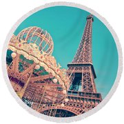 Merry Go Paris Round Beach Towel