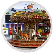 Merry-go-round At The Prater Round Beach Towel