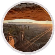 Mesa Arch Sunrise 4 - Canyonlands National Park - Moab Utah Round Beach Towel