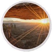 Mesa Arch Sunrise 4 - Canyonlands National Park - Moab Utah Round Beach Towel