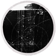 Mesons, Bubble Chamber Event Round Beach Towel