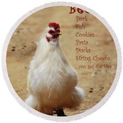 Message From A Chicken Round Beach Towel