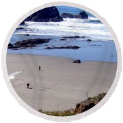 Message In The Sand Round Beach Towel