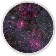 Messier 52 And The Bubble Nebula Round Beach Towel