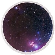 Messier 78 & Horsehead Nebula In Orion Round Beach Towel