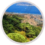 Messina Strait - Italy Round Beach Towel