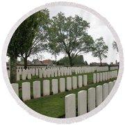 Messines Ridge British Cemetery Round Beach Towel