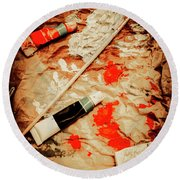 Messy Painters Palette Round Beach Towel