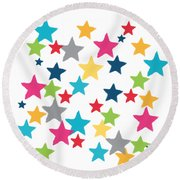 Messy Stars- Shirt Round Beach Towel by Linda Woods