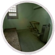 Metal Bed Inside Solitary Confinement Cell Round Beach Towel