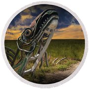 Metal Monster Emerging From The Earth Round Beach Towel