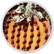Metal Pumpkin Round Beach Towel